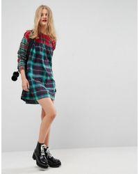 ASOS Blue Smock Mini Dress In Mixed Check
