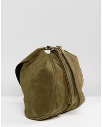 ASOS Green Design Suede Minimal Backpack With Ring Pull Detail