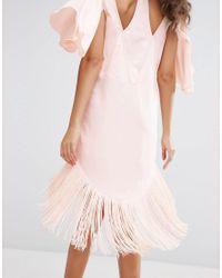 ASOS Pink Flutter Sleeve T-shirt Dress With Fringe Hem