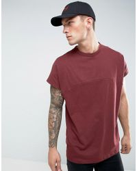 ASOS Red Oversized T-shirt With Cut And Sew Seam And Chunky Rib for men