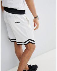 Basketball - Pantaloncini bianchi in rasatello di Mennace in White da Uomo