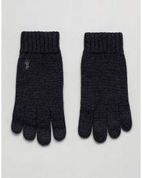 Gants en laine mrinos ctele avec logo joueur de polo Polo Ralph Lauren pour homme en coloris Gray