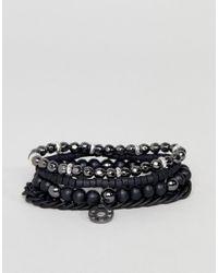 Icon Brand - Beaded Bracelet 4 Pack In Black for Men - Lyst