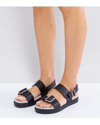 Monki Black Buckled Ankle Strap Sandals