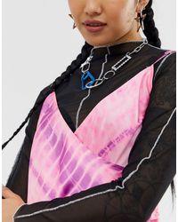 ASOS Metallic – farbene Halskette mit gefärbter Schließe und Kette mit Kristallgliedern