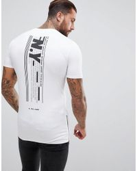 ASOS White Longline Muscle T-shirt Withnyc Print And Side Zips for men