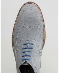 Dune | Brooklyn Heights Brogues In Gray Suede for Men | Lyst