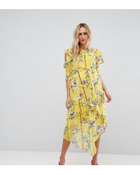 3d54583286b37 ASOS - Cold Shoulder Midi Dress With Ring Detail In Yellow Floral Print -  Lyst