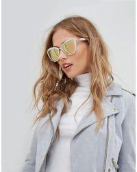 Quay My Girl Cat Eye Sunglasses In White Pearl for men
