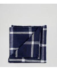 Fazzoletto da taschino blu navy a quadri grandi di Noak in Blue da Uomo