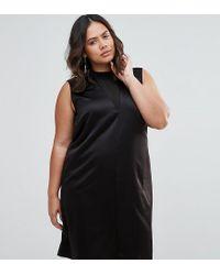 ASOS Black Sleeveless Column Dress With Sheer Insert