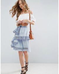 ASOS Blue Layered Prom Skirt In Stripe