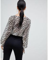 Top corto zebrato di Missguided in Black