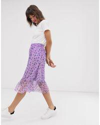 Сетчатая Юбка С Цветочным Принтом И Баской -мульти Ichi, цвет: Purple