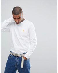 Carhartt WIP Long Sleeve Chase T-shirt In White for men