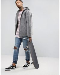 ASOS Gray Faux Shearling Reversible Hooded Jacket In Grey for men