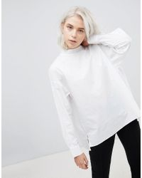 Weekday White High Neck Pleat Back Shirt