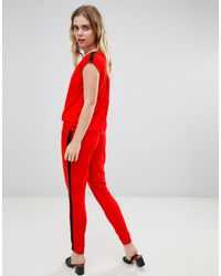 Ichi Red Relaxed Jumpsuit