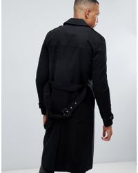 ASOS - Tall Shower Resistant Longline Trench Coat With Belt In Black for Men - Lyst