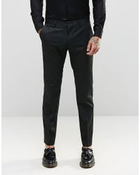 ASOS Black Slim Smart Trousers In Tonal Stripe for men