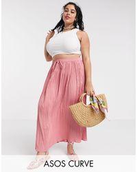 Falda larga recta ASOS de color Pink