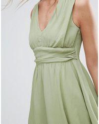 ASOS - Green Soft Ruched Panel V Neck Skater Mini Dress - Lyst