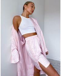 PUMA Pink – Kimono aus Satin mit Logoprint