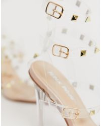Public Desire Natural – Hero – transparente Schuhe mit Stiletto-Absatz