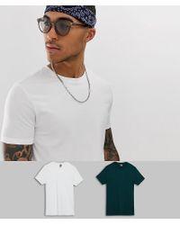 Pack de 2 camisetas en tejido orgánico con cuello redondo ASOS de hombre de color White