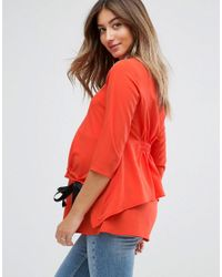 ASOS Red Nursing Channel Front Top