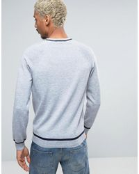 ASOS Gray Jumper With Contrast Mesh Raglan Sleeves And Hem for men