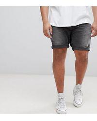 Shorts vaqueros de corte slim en negro lavado con detalles desgastados de ASOS PLUS ASOS de hombre de color Black