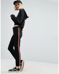 ASOS | Black Cigarette Trousers With Side Stripe | Lyst
