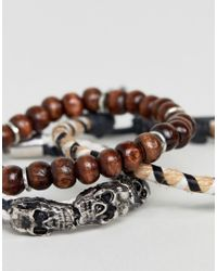 ASOS - Black Bracelet Pack With Beads And Skulls for Men - Lyst
