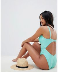 ASOS Blue Asos Design Petite Recycled Stitched Cupped Underwired Swimsuit In Frozen