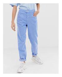Ritson - Mom jeans rigidi blu fiordaliso a coste con cavallo basso di ASOS in Blue
