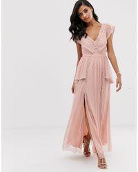 Robe longue - Taupe LACE & BEADS en coloris Pink