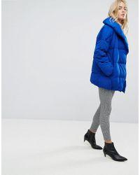 Mango | Blue Padded Oversized Jacket | Lyst