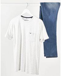 T-shirt girocollo con tasca écru mélange di Threadbare in White da Uomo