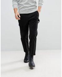 AllSaints Black Slim Fit Cropped Chino for men