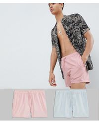 ASOS Multicolor Swim Shorts 2 Pack In Pink & Grey Short Length Save for men