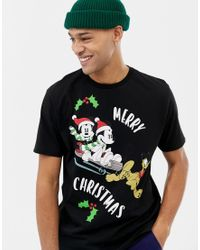 Camiseta con estampado navideño de Mickey y Minnie ASOS de hombre de color Black
