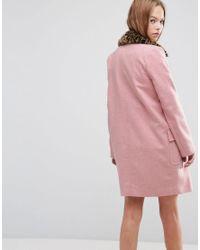 ASOS Pink Asos Coat With Leopard Print Collar