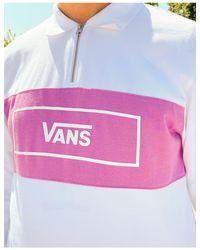 Hewitt - Polo bianca con zip corta di Vans in White da Uomo