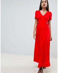 ASOS Red Button Through Maxi Dress