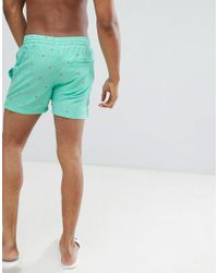 Another Influence - Blue Palm Tree Swim Short for Men - Lyst