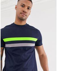 Camiseta con paneles en contraste en azul marino ASOS de hombre de color Blue