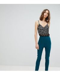 ASOS Green Asos Design Tall High Waist Trousers In Skinny Fit