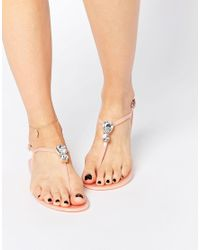 ASOS - Pink Fabulous Embellished Jelly Sandals - Lyst