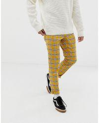 Pantalones De Vestir Ajustados A Cuadros En Amarillo Intenso Con Cordn Ajustable En La Cintura De Asos De Tejido Sintetico De Color Amarillo Para Hombre Lyst